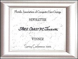 FACUG 2005 Newsletter Contest 1st Place Certificate