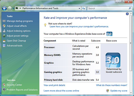 HPa1710n Windows Experience Index