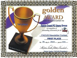 FACUG 2008 Newsletter Contest 1st Place Certificate