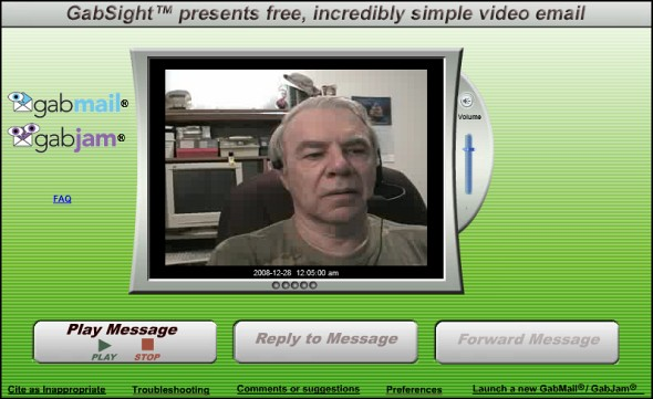FreeGabMail using Camcorder