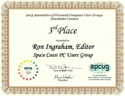 APCUG 2013 Newsletter Contest 3rd Place Certificate